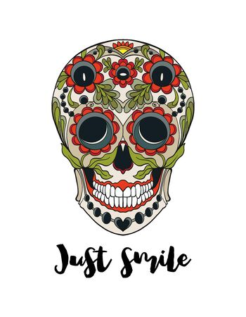 Human sugar Skull  with just smile  slogan.  Good for print on T-shirts, bags, covers.  Vector illustration. Banque d'images - 130793248