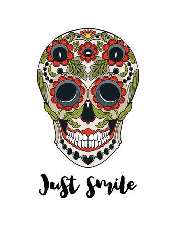 Ludzka czaszka cukru z hasłem tylko uśmiech. Dobry do nadruku na koszulkach, torbach, pokrowcach. Ilustracja wektorowa.