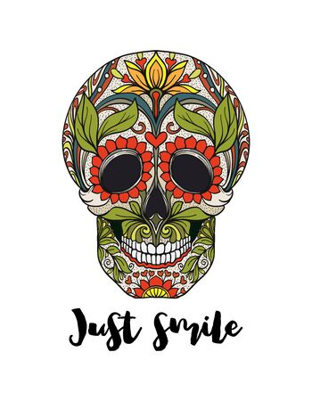 Human sugar Skull  with just smile  slogan.  Good for print on T-shirts, bags, covers.  Vector illustration. Banque d'images - 130793252