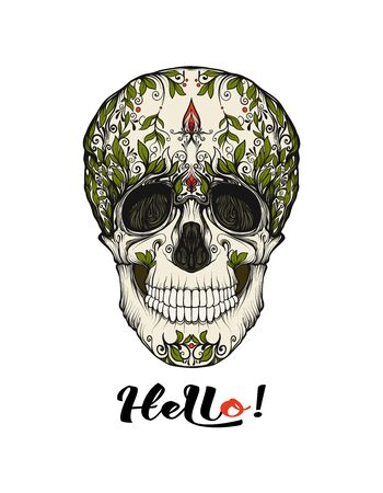 Human Skull  with hello slogan.  Good for print on T-shirts, bags, covers.  Vector illustration. Banque d'images - 130793249