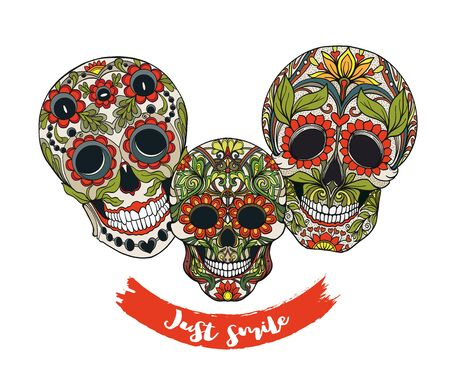 Human sugar Skulls  with slogan.  Good for print on T-shirts, bags, covers.  Vector illustration. Ilustração