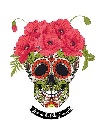 Human sugar Skull  with flowers and slogan.  Good for print on T-shirts, bags, covers.  Vector illustration. Banque d'images - 130793314