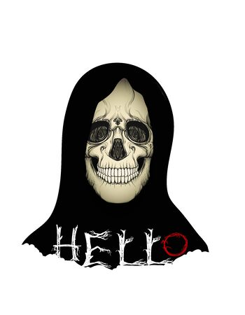 Human Skull in black hood with hello slogan.  Good for print on T-shirts, bags, covers.  Vector illustration. Ilustração