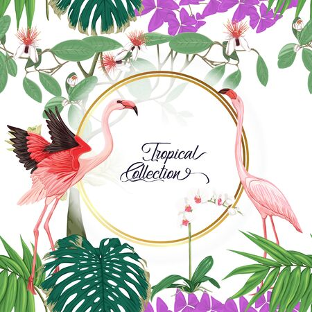 Template for greeting card for birthday,  invitation or banner  with tropical plants, palm leaves, monsters and white orchids with flamingo. Colored vector illustration. Illustration