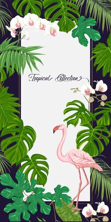 Template for greeting card for birthday,  invitation or banner  with tropical plants, palm leaves, monsters and white orchids with flamingo. Colored vector illustration.