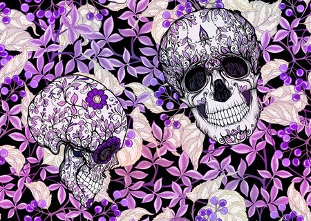 Seamless Pattern with human skulls and  plants. Colored vector illustration.