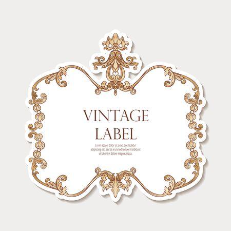 Label für Produkte oder Kosmetik im Rokoko- oder Renaissancestil