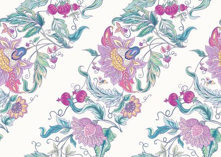 Seamless pattern with stylized ornamental flowers in retro, vintage style. Jacobin embroidery. Colored vector illustration In pink, blue, ultraviolet colors Illustration