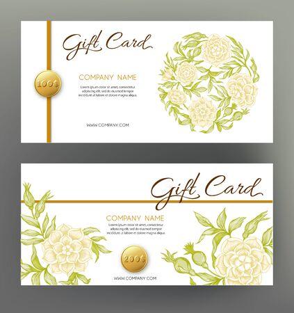 Roses. Gift voucher. Graphic drawing, engraving style. Vektoros illusztráció