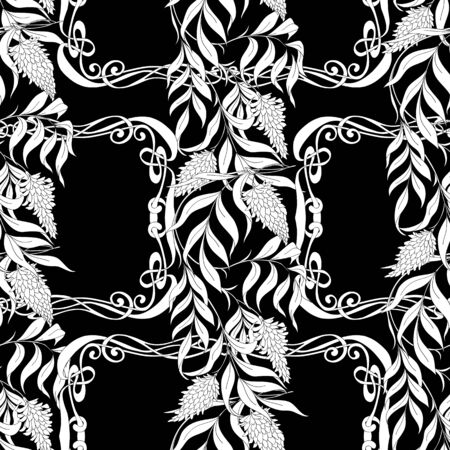 Seamless pattern with blooming pink acacia in art nouveau style.