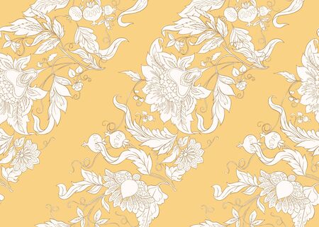Seamless pattern with stylized ornamental flowers in retro, vintage style. Jacobin embroidery.  In soft yellow colors.  イラスト・ベクター素材