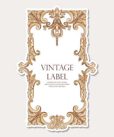 Label for products or cosmetics In rococo style or renaissance style