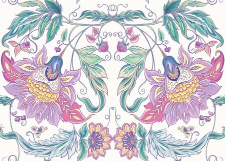 Seamless pattern with stylized ornamental flowers in retro, vintage style. Jacobin embroidery. Colored vector illustration In pink, blue, ultraviolet colors Иллюстрация