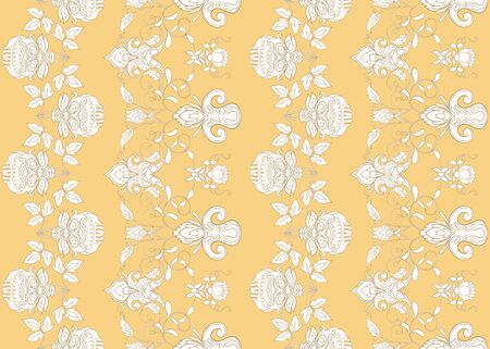 Seamless pattern with stylized ornamental flowers in retro, vintage style. Jacobin embroidery.  In soft yellow colors. Çizim