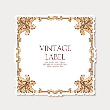 Etiqueta para productos o cosméticos en estilo rococó o estilo renacentista Ilustración de vector
