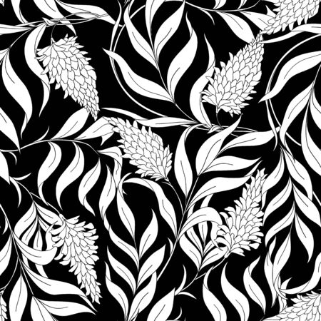 Seamless pattern with blooming pink acacia in art nouveau style.  illustration Black-and-white graphics.