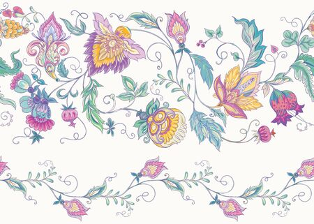Seamless pattern with stylized ornamental flowers in retro, vintage style. Jacobin embroidery. Colored vector illustration In pink, blue, ultraviolet colors Stock Illustratie