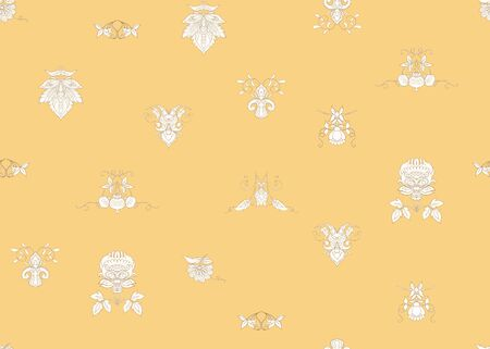 Seamless pattern with stylized ornamental flowers in retro, vintage style. Jacobin embroidery.  In soft yellow colors. Ilustração