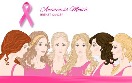 6 beautiful women in pink clothes, pink ribbon symbol, banner for breast cancer Awareness month. Colored vector illustration. Standard-Bild - 131332313