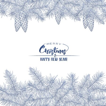 Template for greeting card for merry Christmas and New Year, invitation or gift voucher. Isolated on white background. Graphic drawing, engraving style. 版權商用圖片 - 131332568