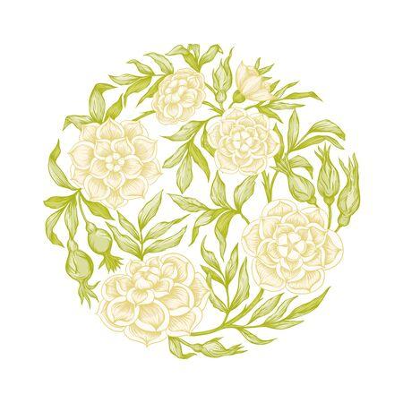 Elemento di rose per il design. Disegno grafico, stile incisione. In stile art nouveau, vintage, vecchio, stile retrò.. Vettoriali