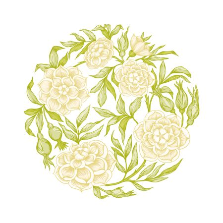 Roses Element for design. Graphic drawing, engraving style.In art nouveau style, vintage, old, retro style.. Ilustracja