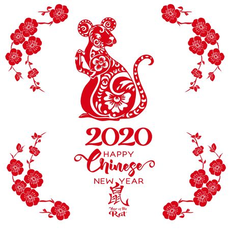 Concept, template for card or envelope for money with Chinese New Year symbols in red and white. Year of the rat 2020. Chinese hieroglyphs with translations. Vector illustration.. Çizim