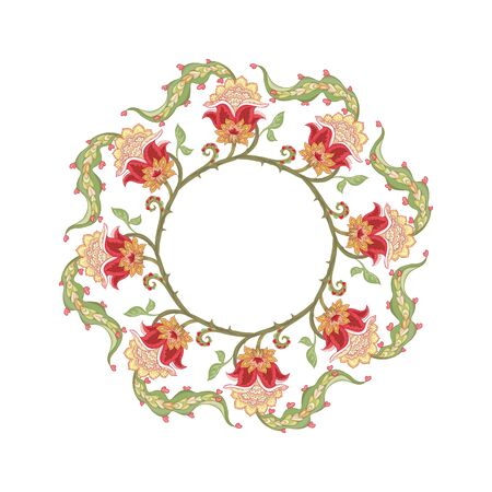 Pattern with stylized ornamental flowers in retro, vintage style. Jacobean embroidery. Colored vector illustration In pink, green, red colors
