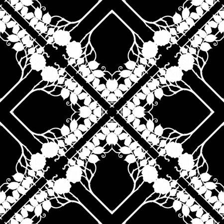 Marcos con motivos decorativos, cenefas. Patrón sin costuras, fondo. Ilustración de vector. Ilustración de Vector de gráficos en blanco y negro. En estilo art nouveau, vintage, antiguo, estilo retro. Ilustración de vector