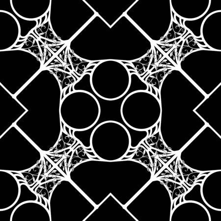 Decorative motif frames, borders. Seamless pattern, background. Vector illustration. Black and white graphics Vector illustration. In art nouveau style, vintage, old, retro style.. Ilustración de vector