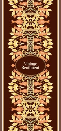 Floral pattern, background In art nouveau style, vintage, old, retro style. In gold and black. Good for the cover of a notebook, tablet, phone, product label. Vector illustration...  イラスト・ベクター素材