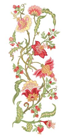 Pattern elements with stylized ornamental flowers in retro, vintage style. Jacobin embroidery. Colored vector illustration In pink