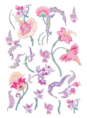 Set of pattern elements with stylized ornamental flowers in retro, vintage style. Jacobin embroidery. Colored vector illustration In pink