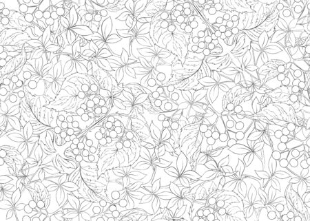 Floral Seamless pattern, background with In art nouveau style, vintage, old, retro style. Black and white graphics. Vector illustration..  イラスト・ベクター素材