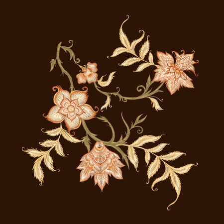 Embroidery with ethnic pattern in kalamkari style, fantasy floral pattern. Colored vector illustration.
