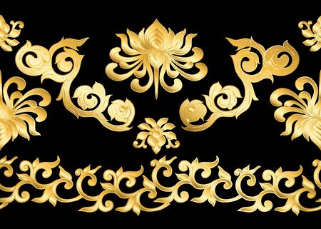 Traditional Chinese seamless pattern, ornament. In gold and black.Vector illustration in gold colors. .