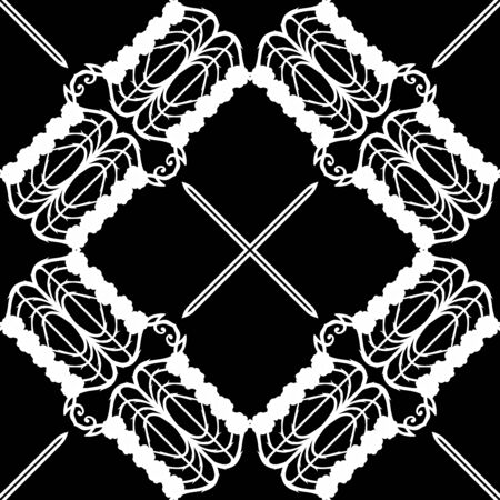 Decorative motif frames, borders. Seamless pattern, background. Vector illustration. Black and white graphics Vector illustration. In art nouveau style, vintage, old, retro style..