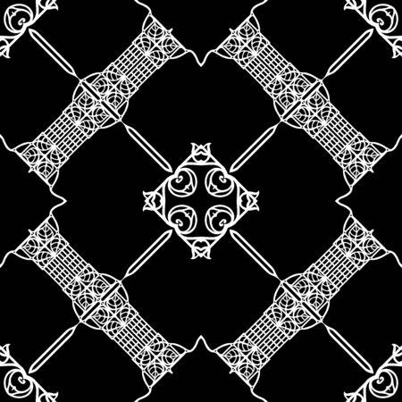 Marcos con motivos decorativos, cenefas. Patrón sin costuras, fondo. Ilustración de vector. Ilustración de Vector de gráficos en blanco y negro. En estilo art nouveau, vintage, antiguo, estilo retro.