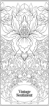 Floral pattern, background In art nouveau style, vintage, old, retro style. In gold and black. Good for the cover of a notebook, tablet, phone, product label. Outline hand drawing vector illustration.