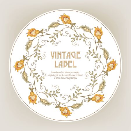 Stylized ornamental flowers in retro, vintage Jacobin embroidery style. Template for label for product, invitation, greeting card, banner, gift voucher with place for text. Vector illustration.
