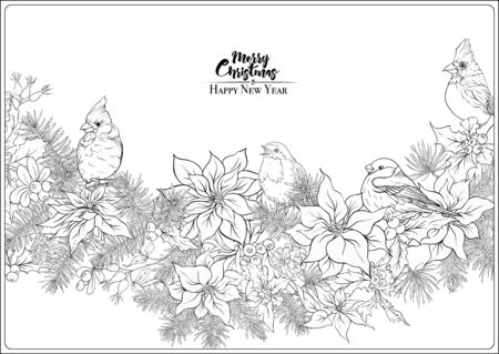 Christmas wreath of spruce, pine, poinsettia and winter birds. Coloring page for the adult coloring book. Outline hand drawing vector illustration