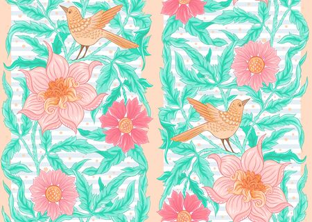 Floral Seamless pattern, background with bird In art nouveau style, vintage, old, retro style. Colored vector illustration..
