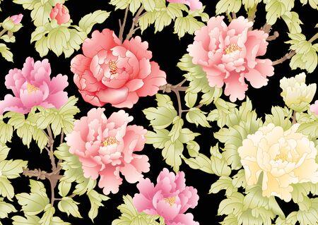 Branche d'arbre de pivoine avec des fleurs dans le style de la peinture chinoise sur soie. Modèle sans couture, arrière-plan. Illustration vectorielle colorée isolée sur fond noir Vecteurs