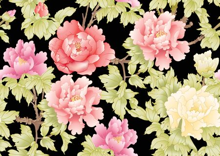 Ramo di peonia con fiori nello stile della pittura cinese su seta. Modello senza cuciture, sfondo. Illustrazione vettoriale colorata isolata su sfondo nero Vettoriali