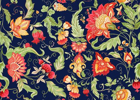 Seamless pattern with stylized ornamental flowers in retro, vintage style. Jacobin embroidery. Colored vector illustration on navy blue background.
