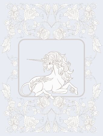 Stylized ornamental flowers in retro, vintage Jacobin embroidery style with unicorn. Vector illustration In In vintage blue and beige colors. Illustration