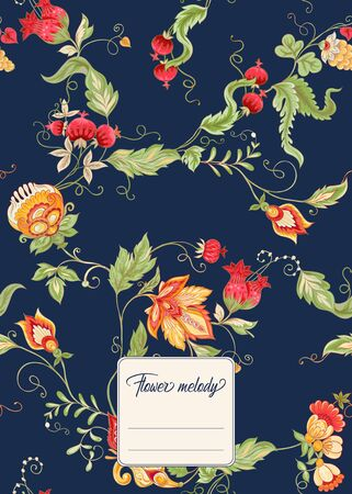 Stylized ornamental flowers in retro, vintage Jacobin embroidery style. Template for cover of notebook, label for product, with place for text. Vector illustration on navy blue background.