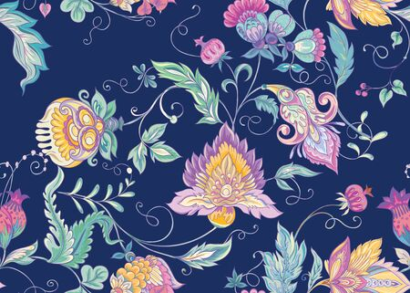 Seamless pattern with stylized ornamental flowers in retro, vintage style. Jacobin embroidery. Colored vector illustration In pink, blue, ultraviolet colors on navy blue background.