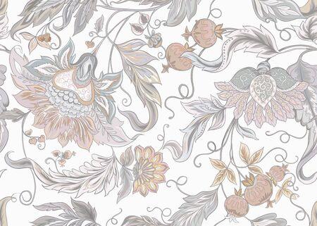 Modèle sans couture avec des fleurs ornementales stylisées dans un style rétro et vintage. Broderie jacobine. Illustration vectorielle colorée. Dans des couleurs vintage gris et beige. Isolé sur fond blanc.