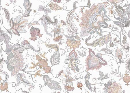 Modello senza cuciture con fiori ornamentali stilizzati in stile retrò, vintage. Ricamo giacobino. Illustrazione vettoriale colorata. Nei colori vintage grigio e beige. Isolato su sfondo bianco.